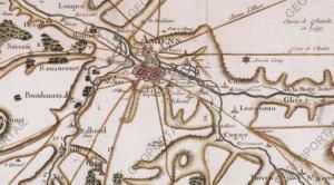 Gestion Lieux dans Gramps - Amiens sur la carte de Cassini