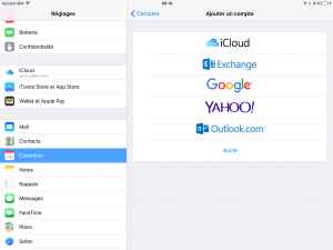 Ios Synchronisation : Ajouter un compte