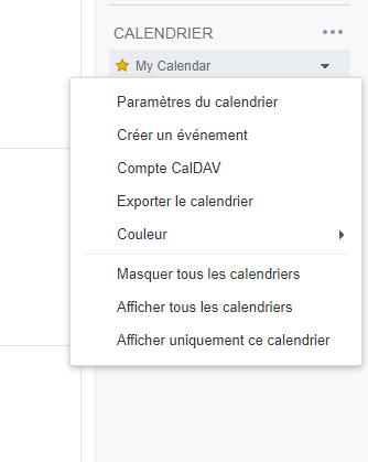 Menu personnalisé du calendrier