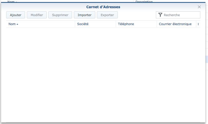 Carddav Server : Ecran de saisie du carnet d'adresse