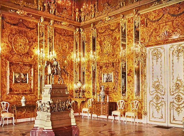 The Amber Room in the Catherine Palace in 1917