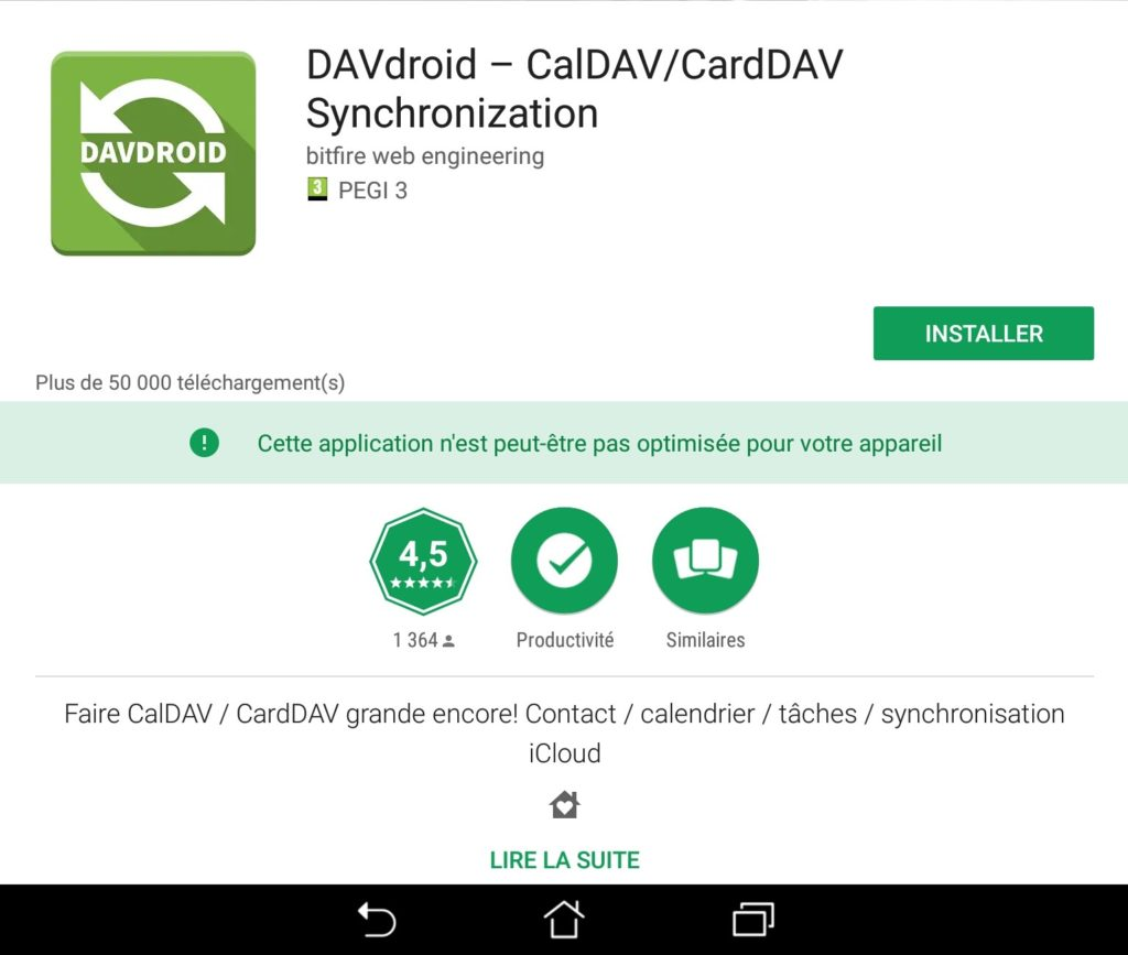 Davdroid dans le playstore