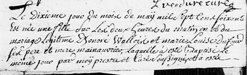 Baptême Marie Marguerite Wallois Doudeauville P1