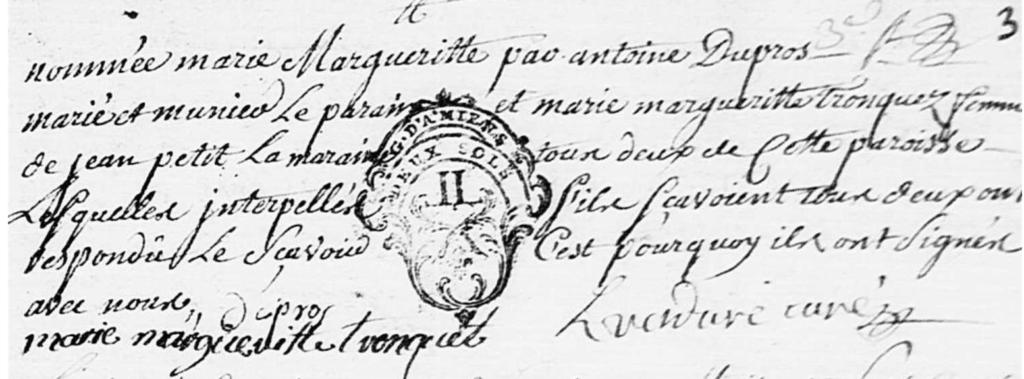 Baptême Marie Marguerite Wallois Doudeauville P2