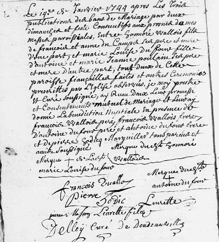 Acte Mariage Wallois x Dufour 1744