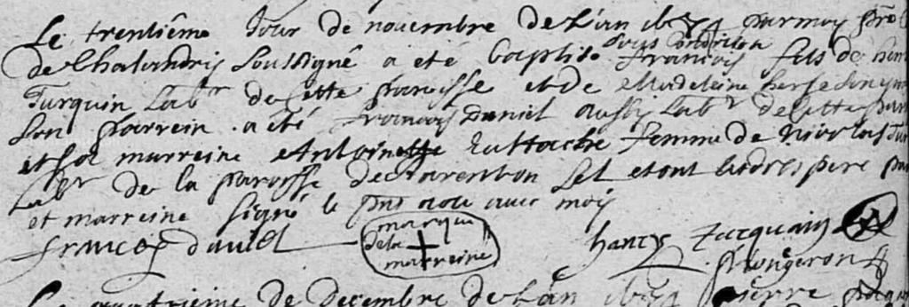 Acte de baptême TURQUIN francois à Chalandry
