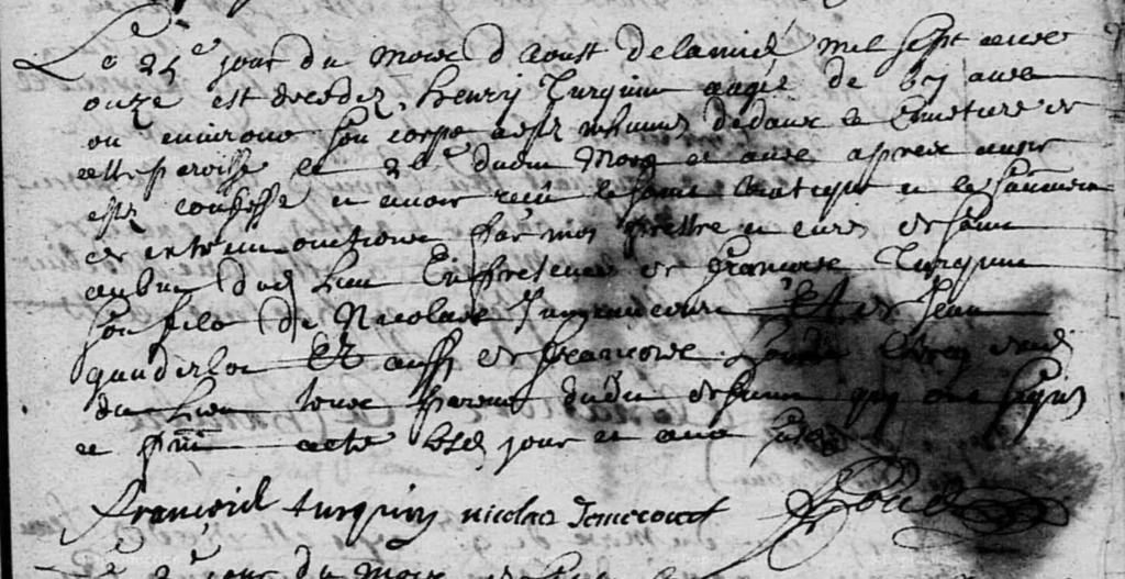 Acte de sépulture d'Henry Turquin à Chalandry