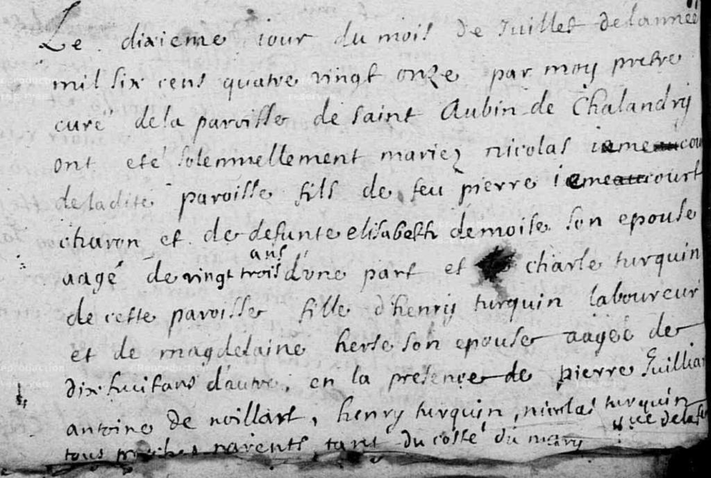 Page 1 de l'acte de mariage de Nicolas Jumeaucourt et Charlotte Turquin à Chalandry