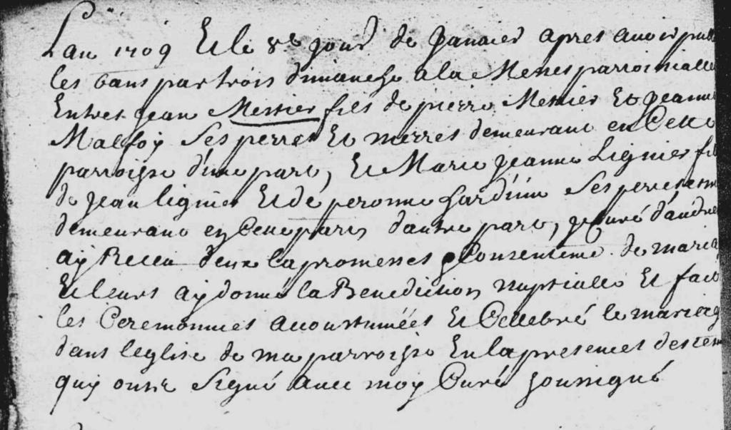 Mariage Mestier et Lignier 1709 Audresselles