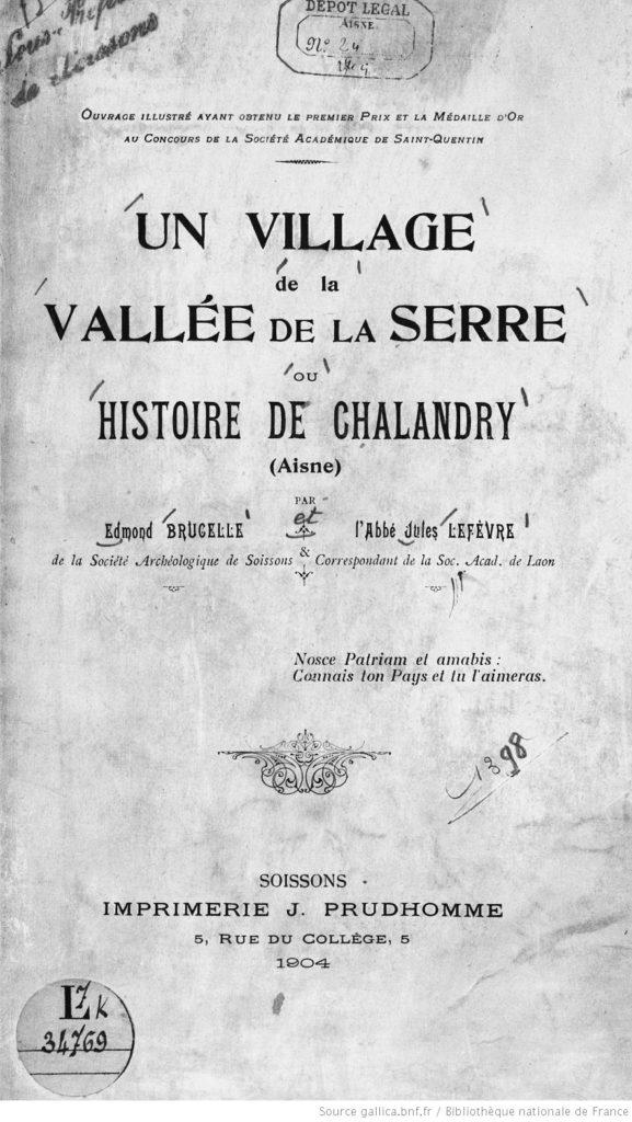 Chalandry : Couverture de la monographie