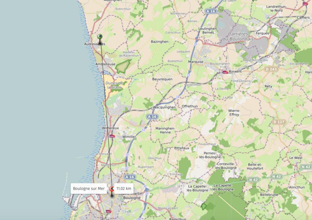 Carte situant Boulogne sur Mer