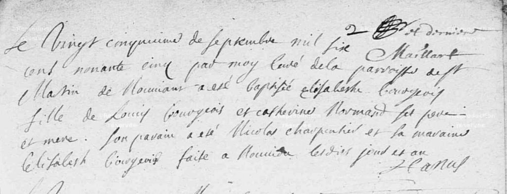 Baptème Elisabeth BOURGEOIS Nouvion le Vineux