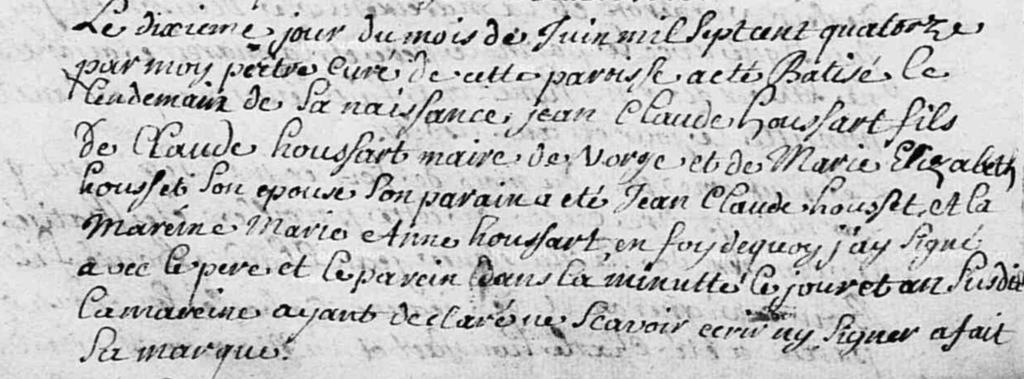 Acte Baptême Jean-Claude Houssart