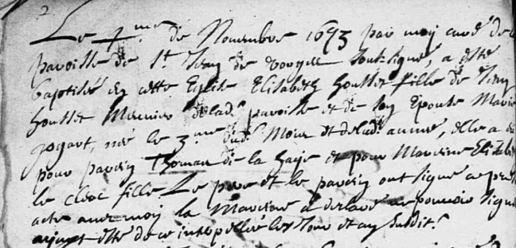 Baptême Marie Elisabeth HOUSSET