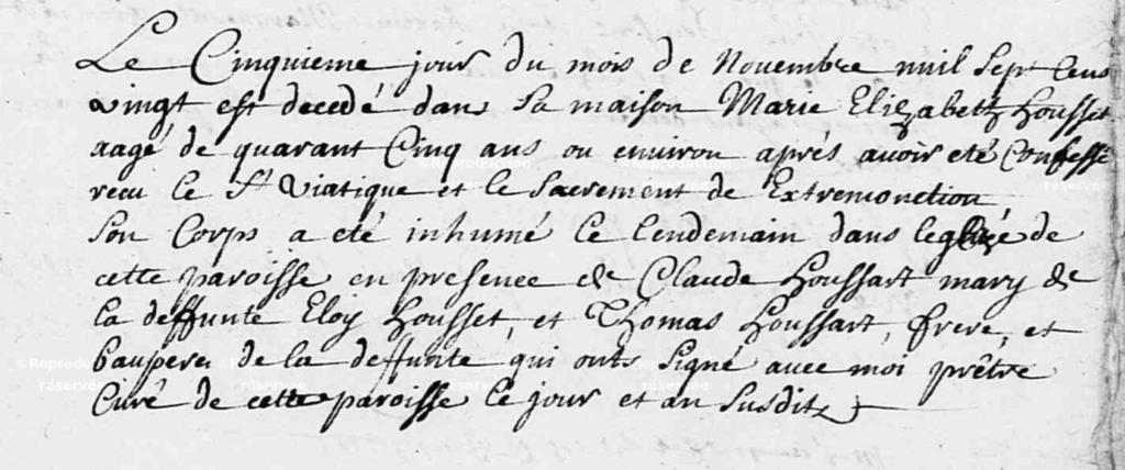 Acte de décès Marie Elisabeth HOUSSET