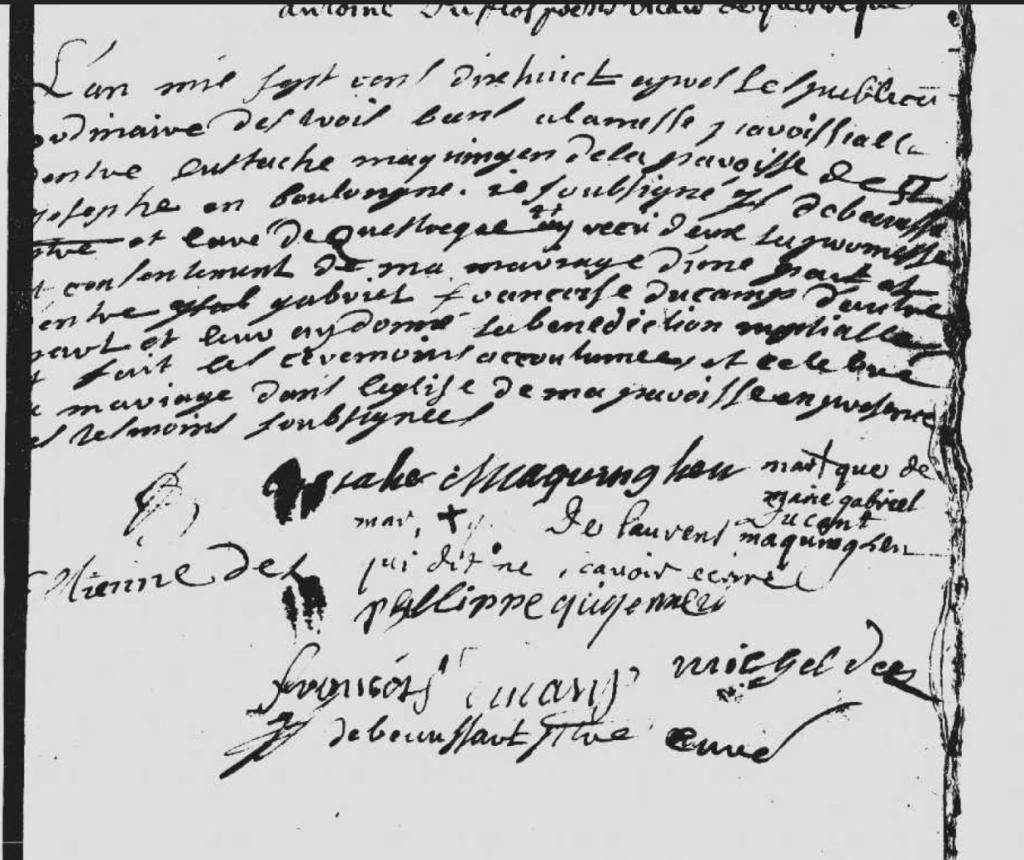 Mariage Maquinghen x Ducamp Questrecques avec les signatures