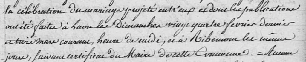 Extrait de l'acte de Mariage indiquant les publications à Ribemont